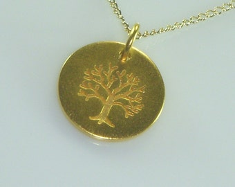 Tree of Life Gold Disc Necklace, Matte Gold Pendant, Family Tree, Free US Shipping