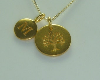 Custom Initial Family Tree Gold  Necklace-Free US Shipping