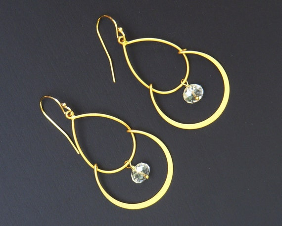 Gold and Swarovski Crystal Chandelier Earrings