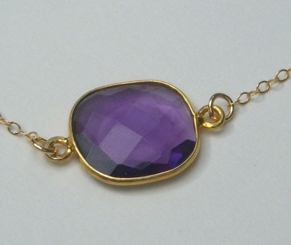 Gold Necklace adorned with a Purple Quartz Bezel Pendant