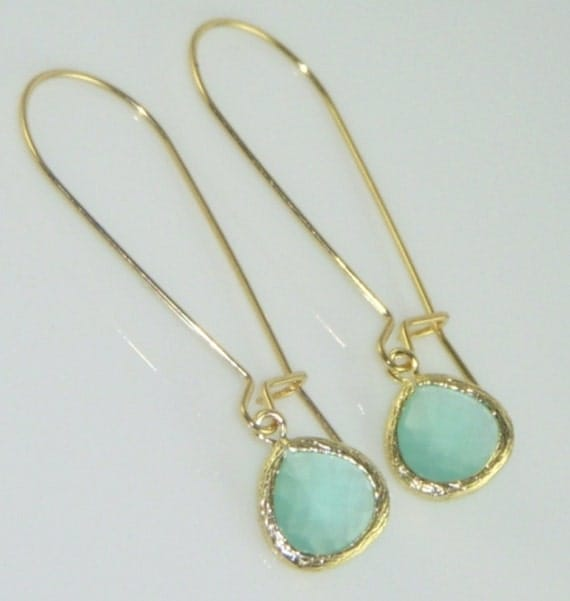 As Seen in Anthropologie -Aqua and Gold Bezel Earrings adorned on Gold Kidney Earwires