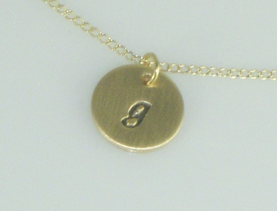 Gold Disc Necklace Hand Stamped with a Lowercase Initial