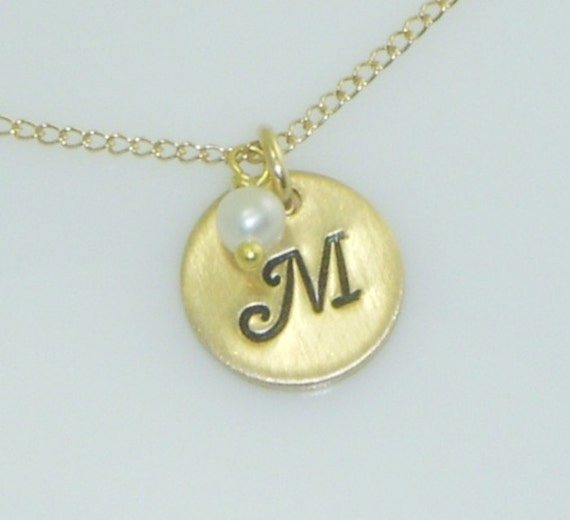 Small Gold Disc Initial Necklace adorned with a Genuine Birthstone