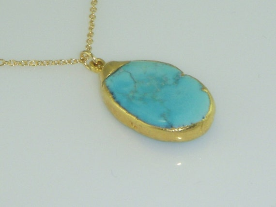 FREE SHIPPING-24k Gold Encrusted  and Turquoise Nugget Pendant Necklace