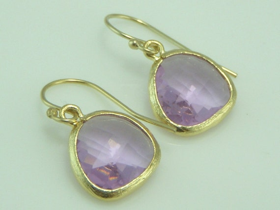 Transparent Violet Glass and Gold Trimmed Earrings