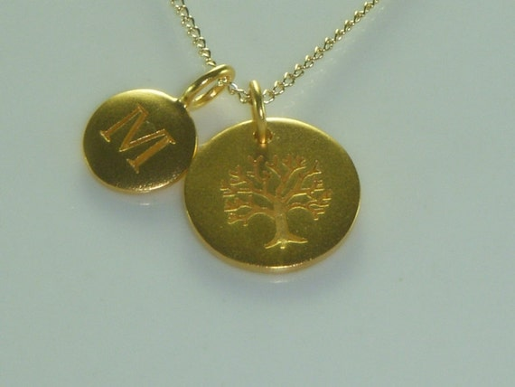 Custom Initial Family Tree Gold  Necklace