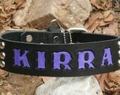 "Custom Dog Collar - 1.5"" wide ALPHA VIVID STAMPn'STUD - Colorful Custom Text on Black Latigo"