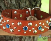 "SALE - Custom Dog Collars - 1.5"" wide - SOLARIS LUX - Leather Deisgner Dog Collar - Studs Crystals"