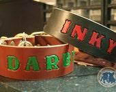 "Custom Leather Dog Collar - 2"" wide -  ALPHADOG VIVID STAMPED - Personalized Custom Leather Dog Collar"