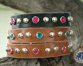 "Custom Leather Dog Collar - 1"" wide - JADE'S JEWEL - Studded and Crystal Jeweled Dog Collar"