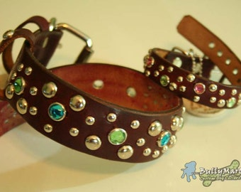 "1.5"" wide SOLARIS Leather Dog Collar - Studs Crystals"