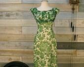 Vintage 1960s green floral wiggle dress