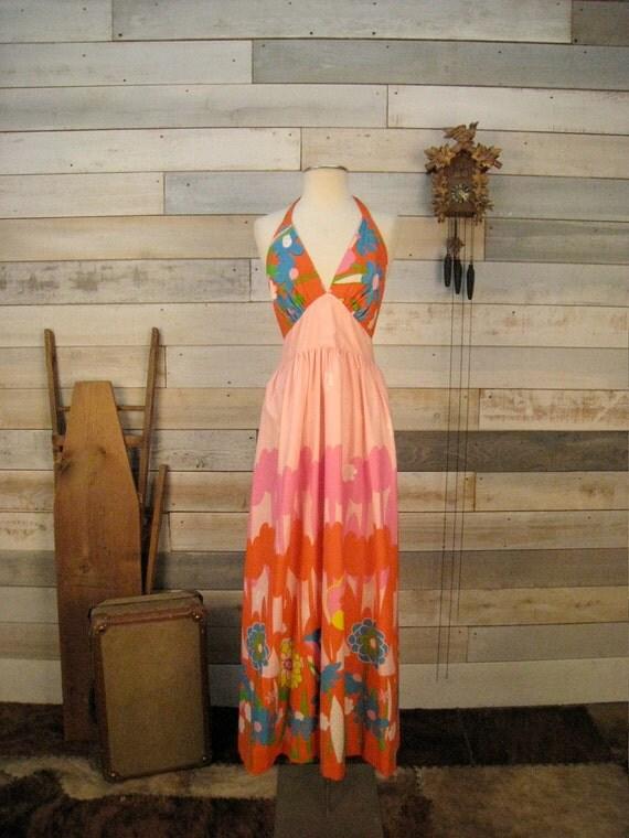 Vintage 1970s halter maxi dress