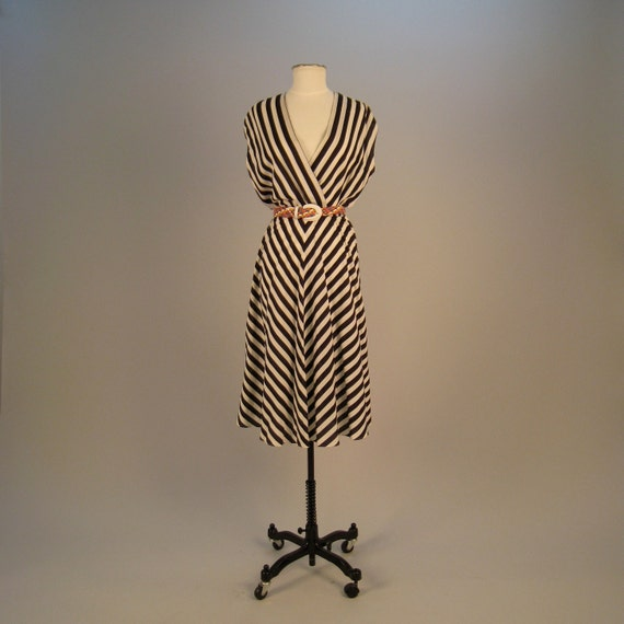 RESERVED FOR Mia - Vintage 1970s black and white striped bias cut dress