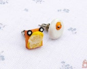 Fried Egg and Butter Toast Stud Earrings
