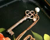 Antique Brass Skeleton Key On Raw Brass Chain Necklace with Freshwater Pearls