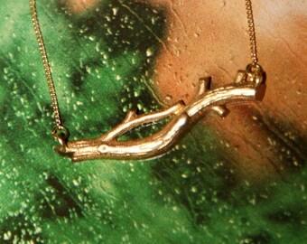 Twig Necklace - Raw Brass Twig Charm on Raw Brass Chain