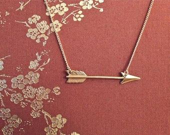 Arrow Necklace Arrow of Love VALENTINE  in Raw Brass BRIDESMAID charm on chain
