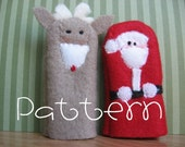PATTERN-PDF- Santa and Rudolph- Furry Fingers Finger Puppets