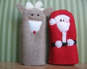 SANTA AND RUDOLPH- Furry Fingers Finger Puppets