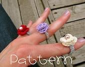 PATTERN- PDF- Lovely Rosette Ring- Crochet