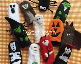 PATTERN- PDF- Halloween Buddies- Furry Fingers Finger Puppets