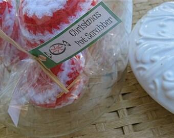 Set of 5- Peppermint Swirl Nylon Net Scrubbies