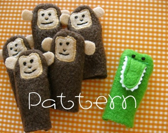 PATTERN-PDF- Five Little Monkeys and a Silly Alligator- Furry Fingers Finger Puppets