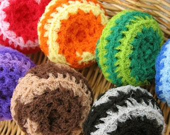 You choose 5- Two-Tone Swirl Nylon Net Scrubbies