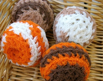 Set of 4- Autumn Spice Swirl Scrubbies