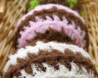 Set of 5- Chocolate Swirl Nylon Net Scrubbies