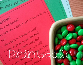 Printable- PDF- Christmas M&M Game- Party Game Idea- family friendly