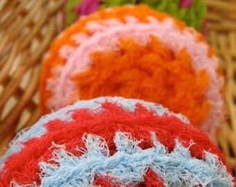 Set of 4- Happy Swirl Nylon Net Scrubbies