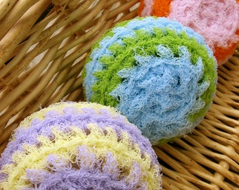 Set of 3- Pastel Swirl Nylon Net Scrubbies