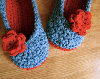 Womens Crochet House Slippers- Country Blue and Cherry Red