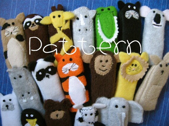 PATTERN- PDF- Zoo Pals- Furry Fingers Finger Puppets