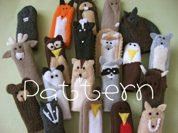 PATTERN- PDF- Woodland Friends- Furry Fingers Finger Puppets