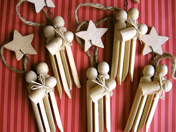 Set of 3- Clothespin Nativity Ornaments