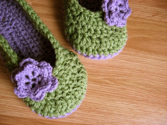 Womens Crochet House Slippers- Tea Green and Orchid