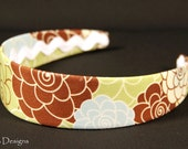 Headband, Green/Blue Mod Flowers *Free Shipping