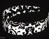 Headband, Black and White Damask