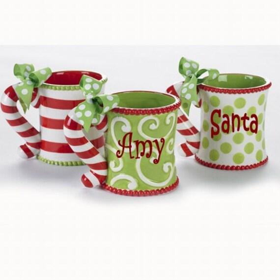 Personalized Candy Cane Handle Holiday Christmas Mug
