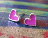 Girls Earrings.Girls post Earrings.Girls Studs.Tiny Purple Silver Heart Studs.hearts earrings.heart silver studs.hearts post earrings.925.