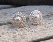 Studs Earrings Dots Post Earrings Sterling Silver