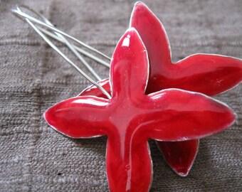 Four Petal Red Enamel Sterling Silver Earrings