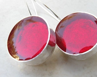 Round Long Deep Red Silver Earrings