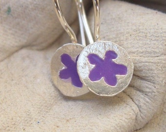 Tiny Purple Flower Girl Earrings