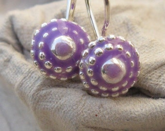 Every Day Small Earrings.Every day purple earrings.tiny earrings.small dangle earrings.little silver earrings.small sterling dangle earrings