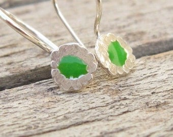 Tiny Green Earrings