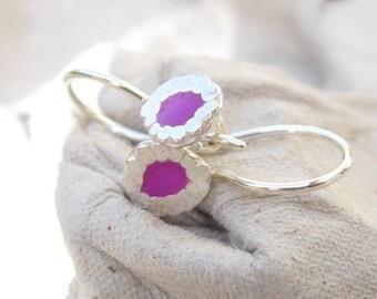 Girls Earrings Tiny Earrings.Little Earrings.Small Earrings.Tiny Purple Earrings.Every day earrings.light weight silver&resin earrings